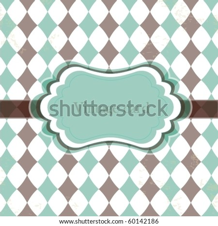 Vector vintage card with rhombuses - stock vector