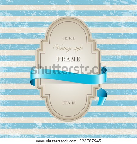 Vector vintage cardboard label decorated with glossy silky ribbon over blue striped weathered background. Old paper grungy texture. Retro style. - stock vector