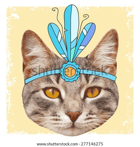 vector vintage cat with diadem - stock vector