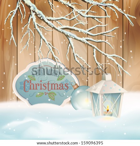 Vector vintage Christmas background. Xmas winter scene with snow-covered frozen tree branch, lantern, retro style border frame, text Merry Christmas, snowdrifts, snowfall, wooden fence, Christmas ball