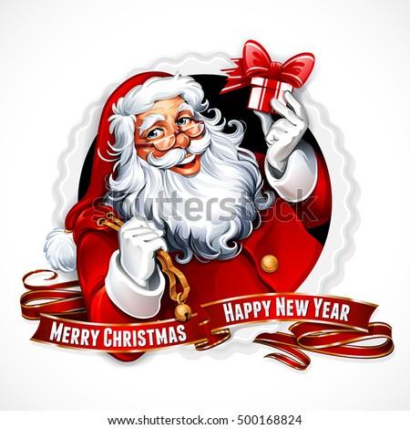 vector vintage christmas badge cartoon santa stock photo (photo