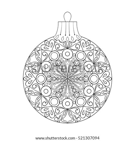 Vector Vintage Christmas Ball For Tree Zentangle Freehand Decoration Element Winter Isolated Symbol