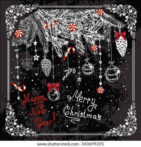 Vector Vintage Christmas Card for Holiday Design. Chalkboard Style. - stock vector