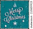 Vector vintage Christmas card. Texture effects can be turned off. Red background included. - stock