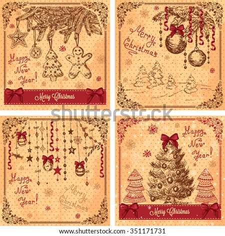 Vector Vintage Christmas Cards for Holiday Design. - stock vector