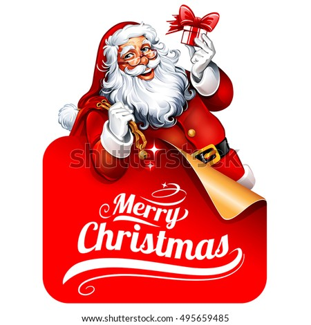 Vector vintage Christmas greeting card with cartoon Santa Claus holding a present behind a signboard. Retro illustration with typographic design elements.