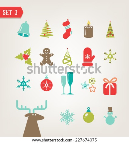Vector vintage Christmas icons