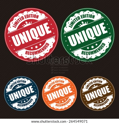 Vector : Vintage Circle Unique Limited Edition Recommended Badge, Banner, Sign, Tag, Label, Sticker or Icon - stock vector