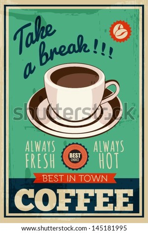 vector vintage coffee poster - stock vector