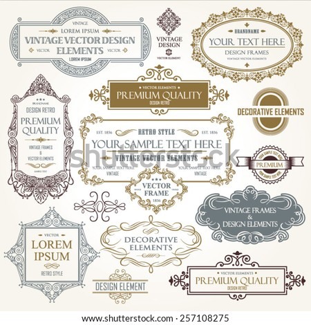 Vector vintage collection: Baroque and antique frames, labels, emblems and ornamental design elements on a old paper background