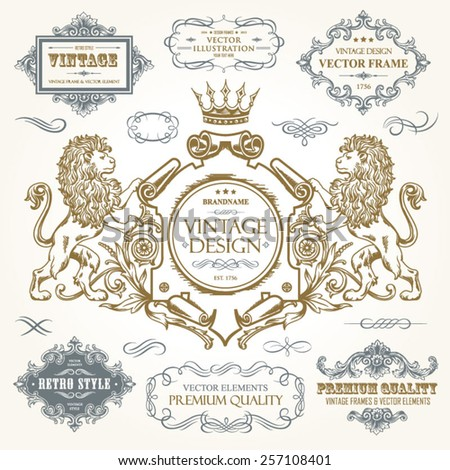 Vector vintage collection: Baroque, antique frames, frame with heraldic lions, ornamental and calligraphic design elements for page decoration on a old paper textural background - stock vector