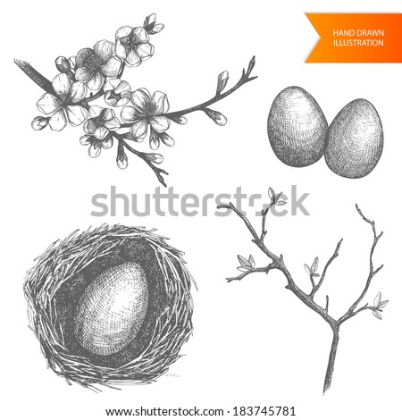 Vector vintage collection of  hand drawn easter illustrations isolated on white - stock vector