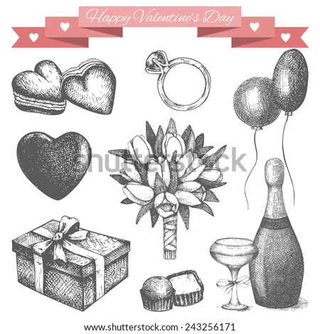 Vector vintage collection of ink hand drawn Valentine's Day illustration isolated on white. - stock vector