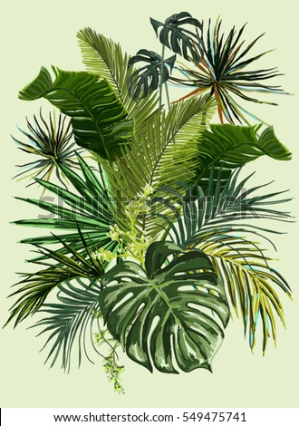 Vector vintage composition with exotic leaves. Botanical classic illustration.  Perfect for wallpapers, web page backgrounds, surface textures, textile.