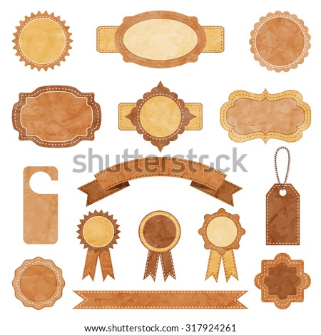 vector vintage crumpled paper frame lable set. EPS - stock vector