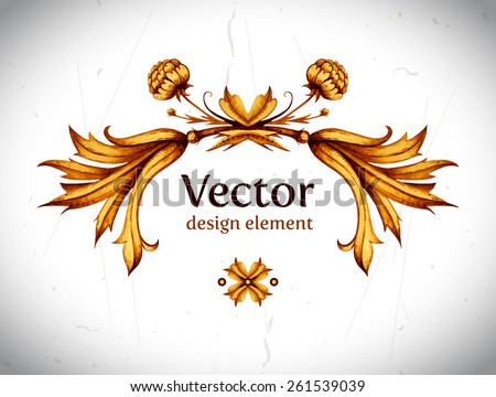 Vector vintage decor. Floral vector. Vintage label. Vintage frame. Retro style. Gold floral design element. High quality Vector illustration. Vintage decorative element. Frame. - stock vector