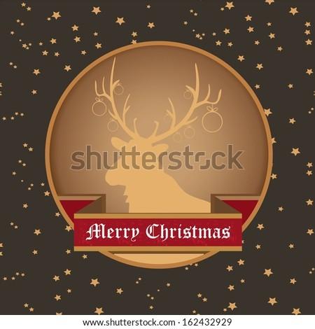vector vintage decorative christmas reindeer on star sky background / merry christmas card  - stock vector
