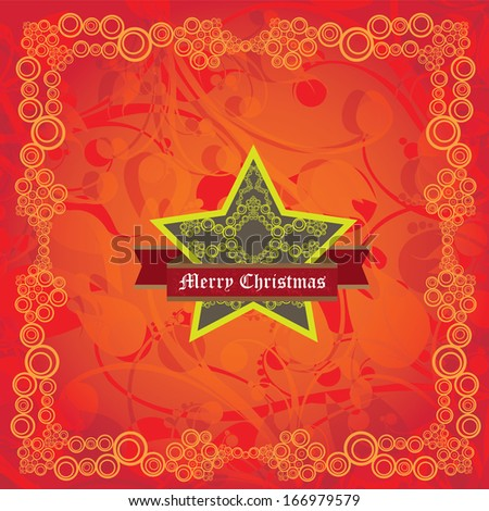 vector vintage decorative christmas shiny star on red floral christmas background / merry christmas card - stock vector