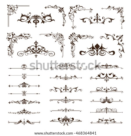 Vector vintage design elements borders frames ornaments corners Black and white vintage clipart on white background