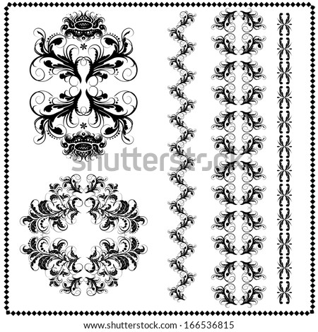 vector vintage design elements, retro seamless  brushes included - stock vector