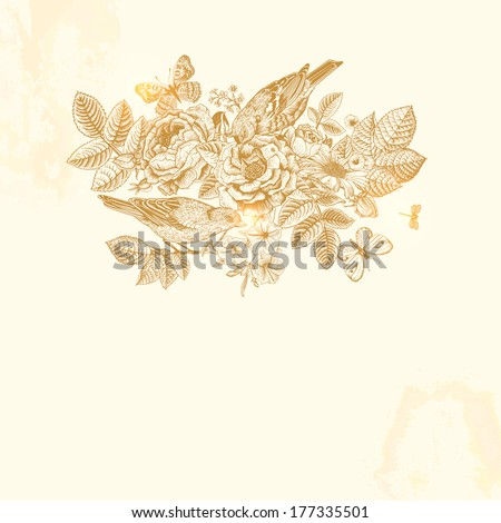 Vector vintage elegant card in Victorian style. Composition of gold flowers on a beige background. Roses, birds, butterflies. Design element. Illustration, ink, pen. - stock vector