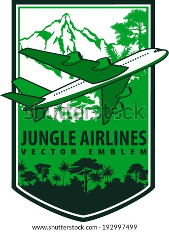 vector vintage emblem label with airplane, jungle rainforest and mountains - stock vector