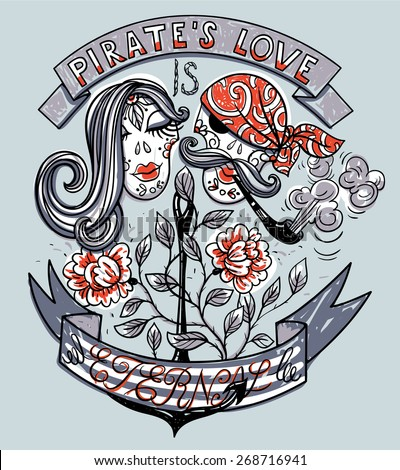 vector vintage emblem with a couple of pirate skulls, roses and anchor  - stock vector
