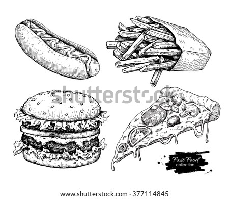 Vector vintage fast food drawing set. Hand drawn monochrome junk food illustration. Great for menu, poster or label. - stock vector