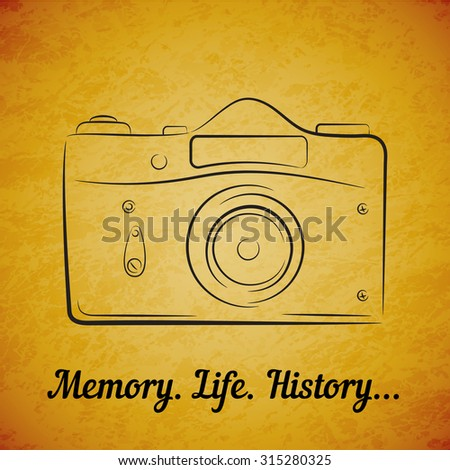 Vector vintage film photocamera on yellow grunge background. Element for design, logo, studio, template and other. Live line draw style - stock vector
