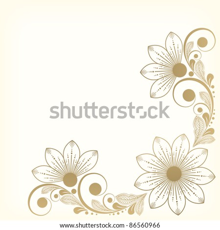 vector vintage floral  background with decorative flowers for design - stock vector