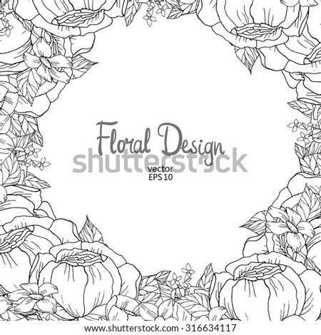 Vector Vintage Floral Frame Black And White Outline Hand Drawn Peony Border Place For