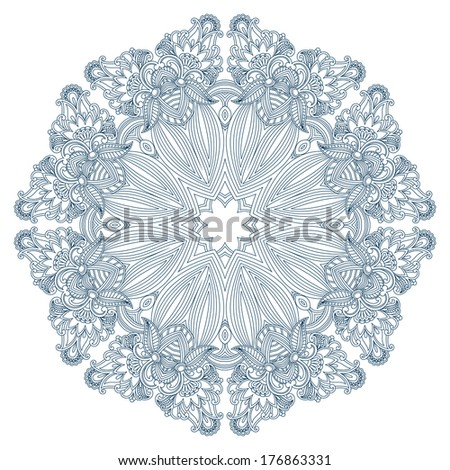 Vector vintage floral round pattern for print, embroidery. - stock vector