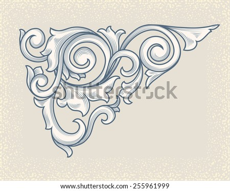 Vector vintage floral scroll - stock vector