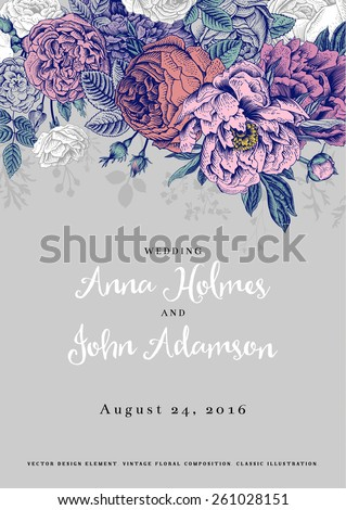 Vector vintage floral wedding invitation. Colorful roses and peonies on a gray background. - stock vector