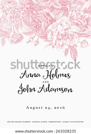 Vector vintage floral wedding invitation. Pink roses and peonies. - stock vector