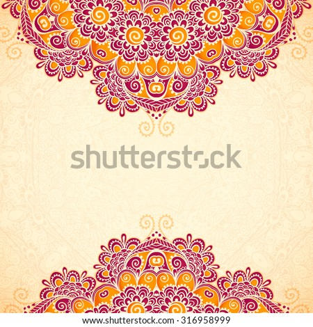 Vector vintage flowers ethnic background in Indian mehndi style - stock vector