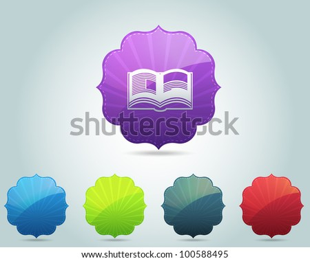 Vector Vintage Frame Book Icon and Multicolored - stock vector