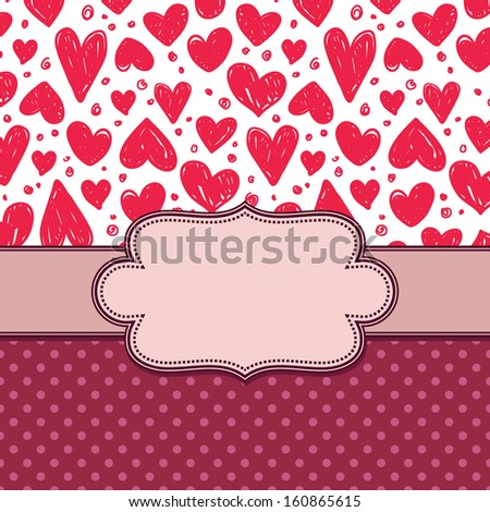 vector vintage frame with hearts