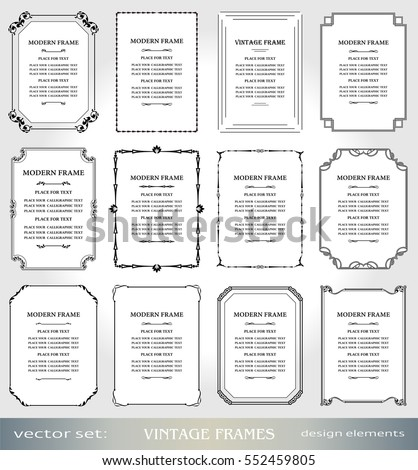 Vector Vintage frames and borders set, Victorian book covers and pages decorations, Floral style ornamental photo and art frames, creative design elements for certificates, awards and diplomas
