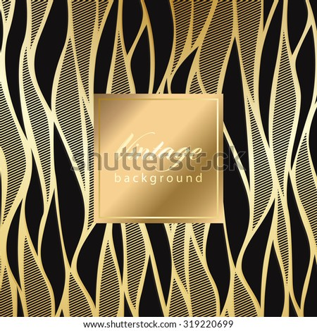 Vector vintage gild card with seamless damask pattern  EPS 10 - stock vector