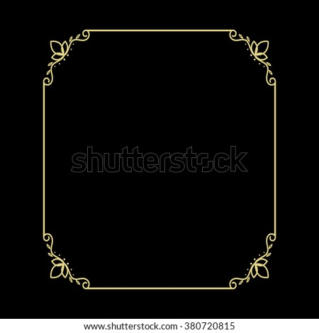 Vector vintage gold frame for your design. Vintage cover. Place for text. - stock vector