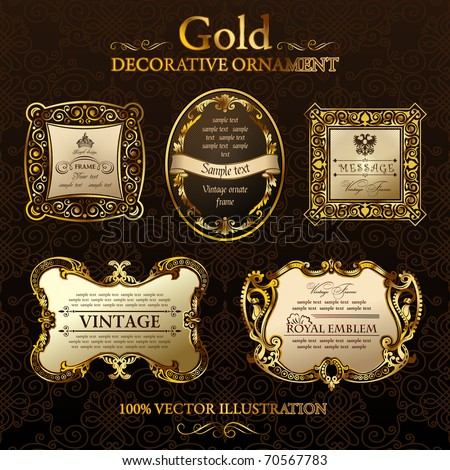 Vector vintage gold frames. Gold ornament label. Set five illustrations. Gold vintage frame ornament. Calligraphic elements set. Vector Gold black frames decor set label.