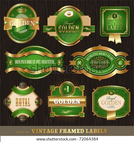 Vector vintage golden-green luxury ornate framed labels decorated patterns, banners, ribbons and ornaments - on a wood texture - stock vector
