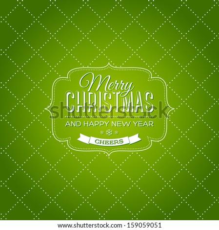Vector vintage green christmas card - stock vector