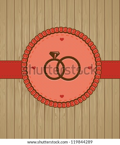 Vector vintage greeting card with wedding rings - background - stock vector