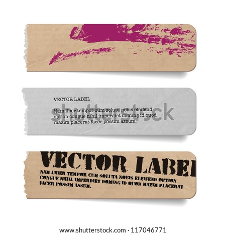 Vector vintage grungy torn old paper tags / banners / labels with hand painted brush stroke background - stock vector