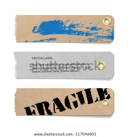 Vector vintage grungy torn old paper tags / banners / labels with metallic perforations and hand painted brush stroke background - stock vector