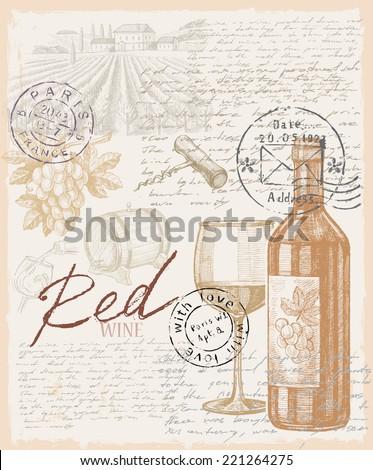 vector vintage hand drawn illustration of wine - stock vector