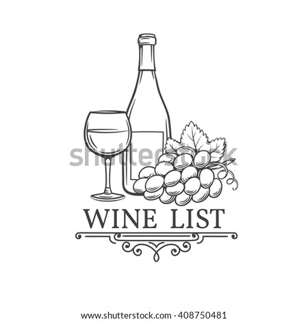 Vector vintage hand drawn illustration of wine. Vector decorative  wine in the old ink style. For  the menu to the wine card brochures.  - stock vector