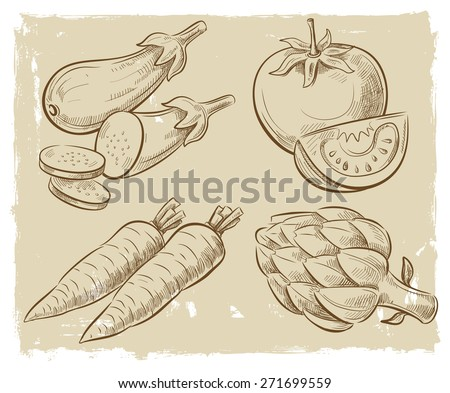 vector vintage hand drawn picture of vegetables - stock vector